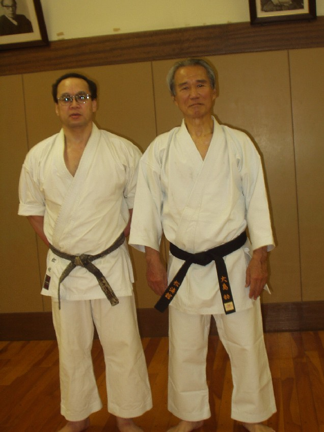 Master Matsuyama with his senior, Master Tsutomu Ohshima, the founder of Shotokan Karate of America (SKA) – the first Shotokan organization in the US.